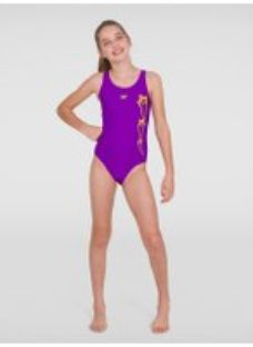 Kids Girl's Plastisol Placement Muscleback Swimsuit Violet